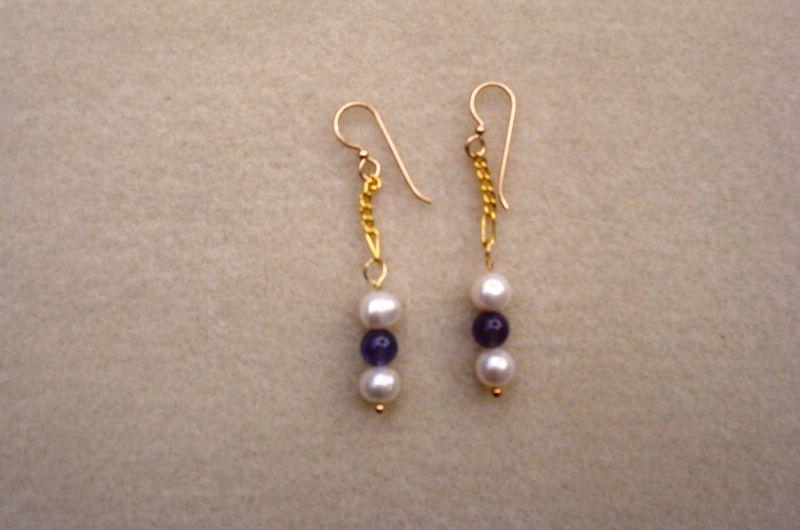 Pearl Amethyst Earrings