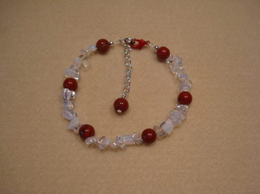 Opalite bracelet with Red Jasper
