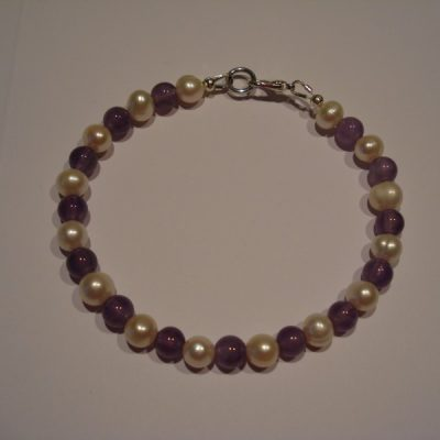 Cultured Pearl and Amethyst Bracelet