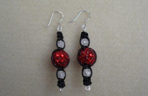 Red Shamballa Earrings