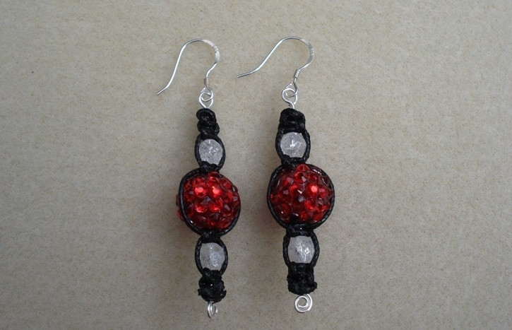 Red Shamballa Earrings