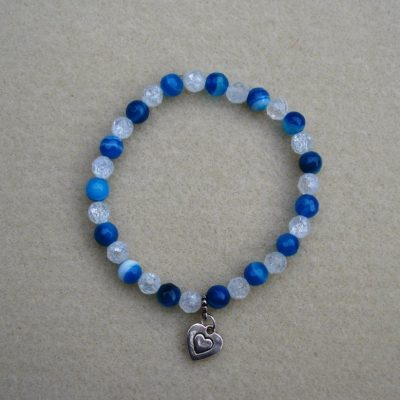 Blue agate & Crackle Quartz Bracelet