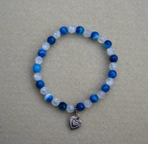 Blue agate & Crackle Quartz Bracelet