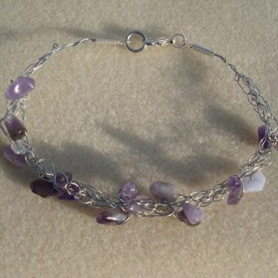 Amethyst Crochet Bracelet