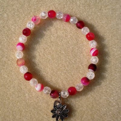Pink Agate & Crackle Quartz Bracelet