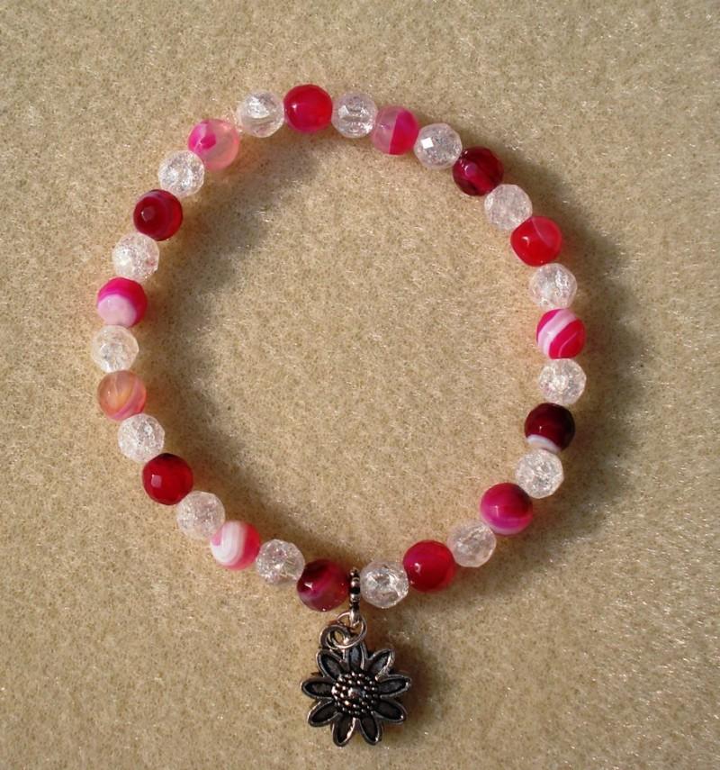 Pink Agate & Crackle Quartz Bracelet