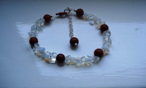 Opalite and Red Jasper Bracelet