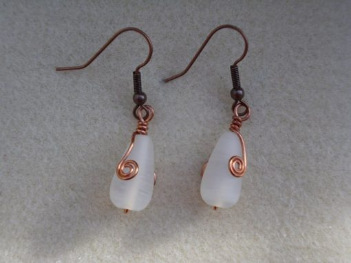 white Frosted Glass Earrings