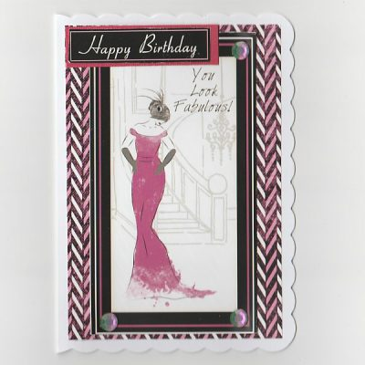 Art Deco Birthday Card lady in Pink