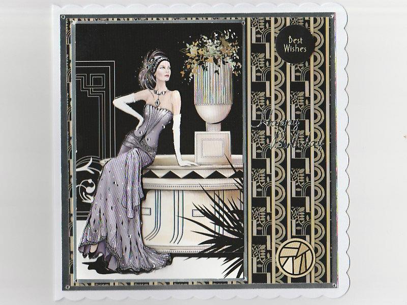 Art Deco Birthday Card Mauve Lady Handmade Card