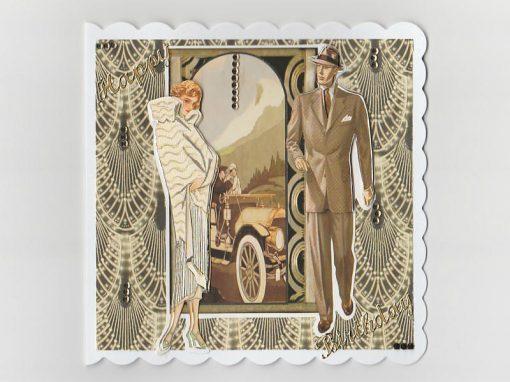 Lady Gentleman Art Deco Birthday Card (Cream)