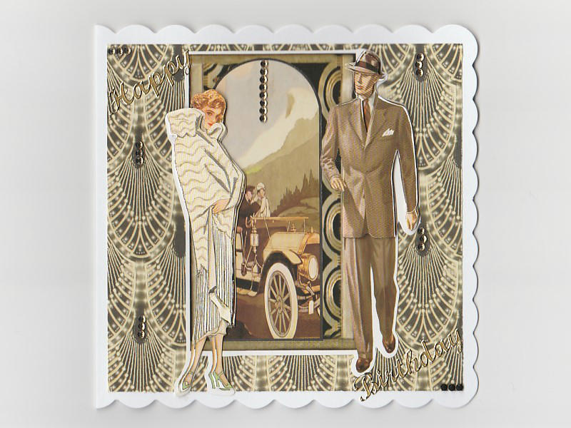 Lady Gentleman Art Deco Birthday Card (Cream)