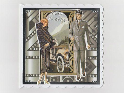 Lady Gentleman Art Deco Birthday card (grey)