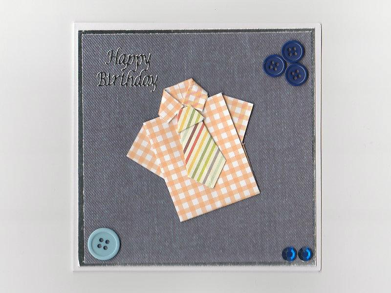 Origami Birthday Card Shirt And Tie Handmade Card
