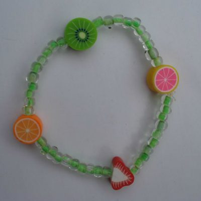 Fruit and Green Bead Bracelet