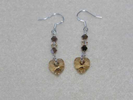 Handmade Swarovski Heart Earrings Golden Shadow