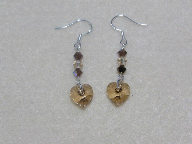 Handmade Swarovski Heart Earrings Golden Shadow