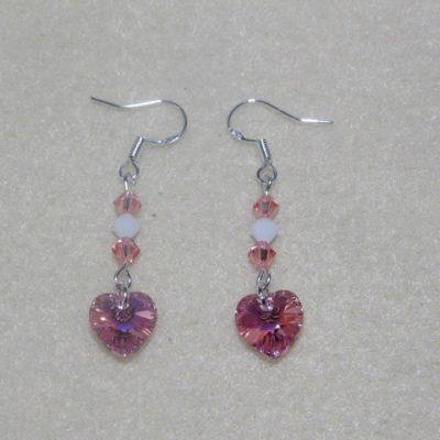 Swarovski Earrings Light Rose AB Hearts