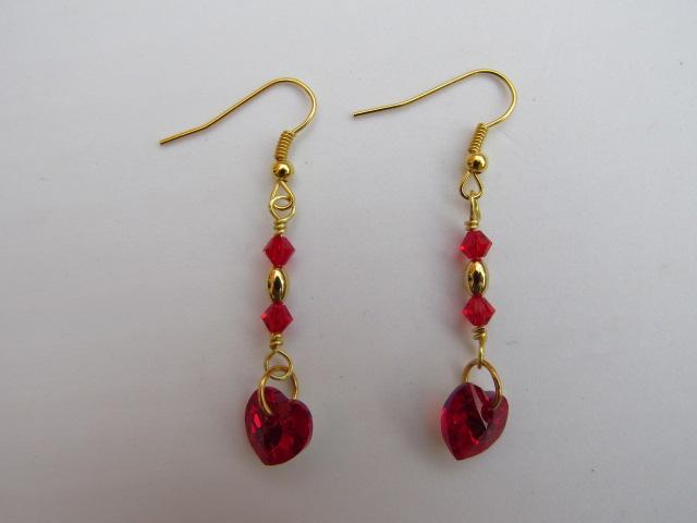 Siam Heart Swarovski Earrings