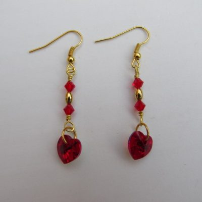 Siam Heart Swarovski Earrings