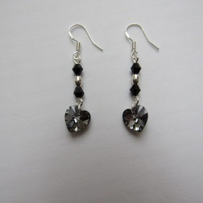 Swarovski Earrings Silver Night Hearts 01