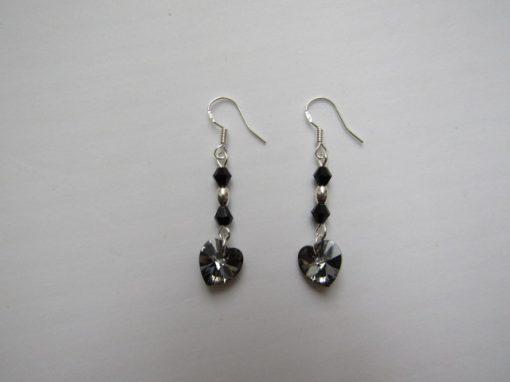 Swarovski Earrings Silver Night Hearts 01