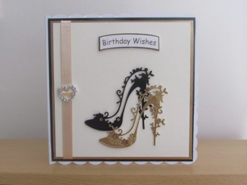 Birthday Card Black and Gold Shoes