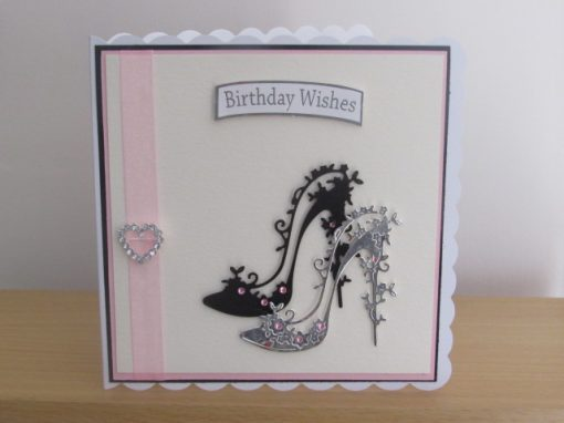 Birthday Card Black and Silver Shoes