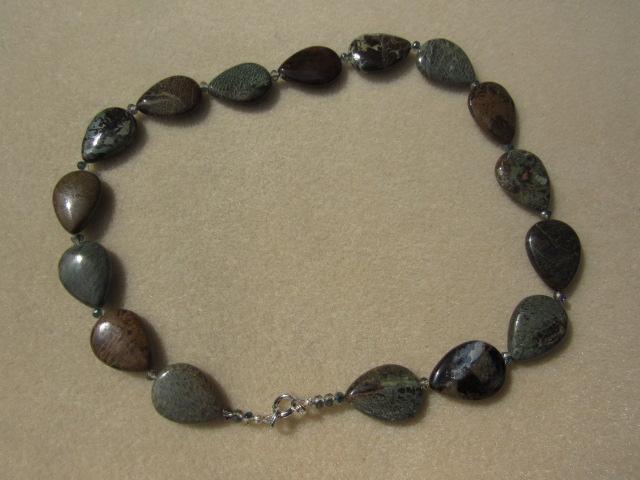 Handmade Snakeskin jasper Necklace.